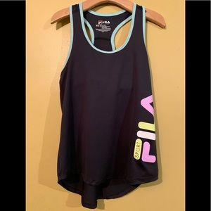 Fila Girls Built In Bra Blue Tank Top M 10-12